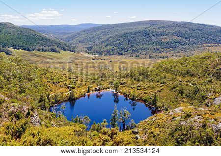 Wombat Pool photographed from the Marion Lookout track in the Cradle Mountain-Lake St Clair National Park - Tasmania, Australia