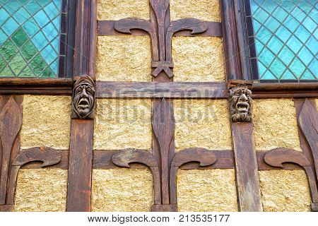 Carcassonne, Languedoc-roussillon, France - August 24 2017: Unusual Carved Gothic Head Features On A