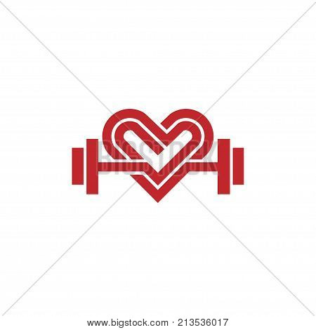 love fit logo vector, Heart sign and dumbbell logo, Fitness and heart icon vector, Healthcare sport medical and science symbol, Healthy lifestyle vector logo template