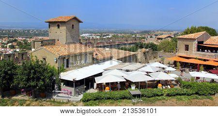 Carcassonne, Languedoc-roussillon, France - August 24 2017: Restaurant