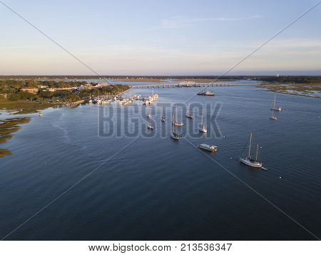 Aerial view of Beaufort South Carolina and harbor.