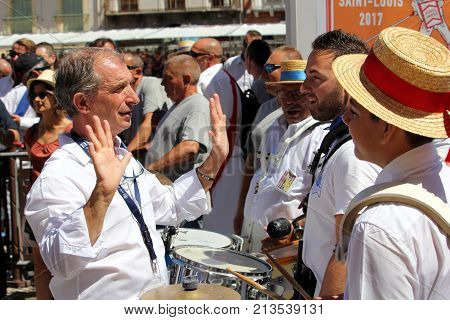Sete, Herault, France  - Aug 21 2017: Band Leader Of The Traditional French Band