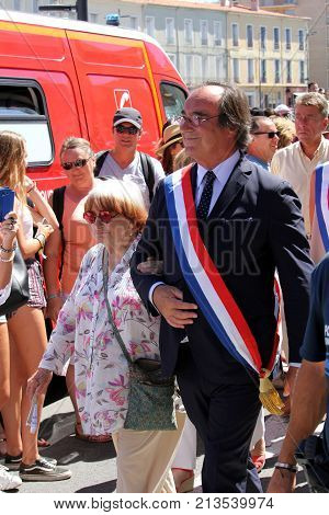 Sete, Herault, France  - Aug 21 2017: François Commeinhes, The Mayor (or Maire) Of Sete, Marching In