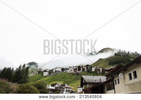 Villages Of Tschlin And Ramosch At Beside Road Between Go To Samnaun Is A High Alpine Village And A