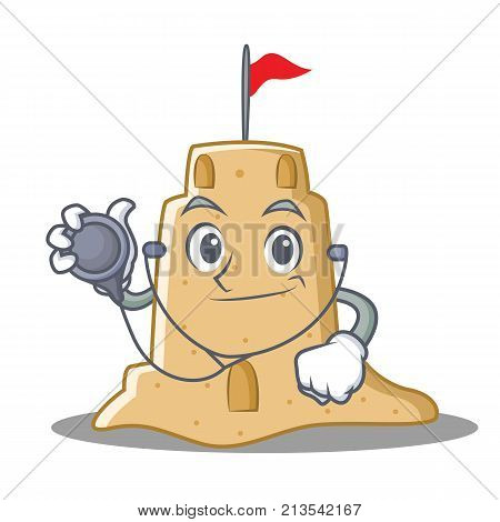 Doctor sandcastle character cartoon style vector illustration