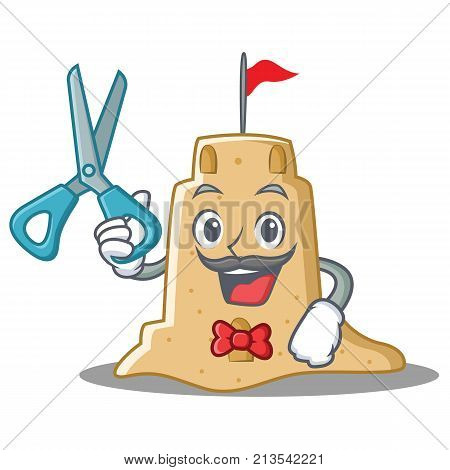 Barber sandcastle character cartoon style vector illustration
