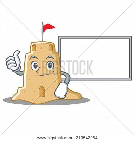 Thumbs up with board sandcastle character cartoon style vector illustration