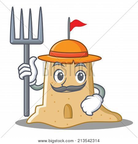 Farmer sandcastle character cartoon style vector illustration