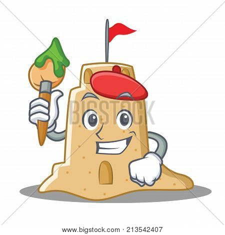 Artist sandcastle character cartoon style vector illustration