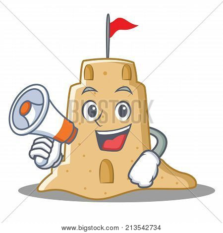 With megaphone sandcastle character cartoon style vector illustration