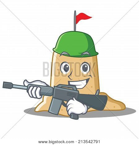 Army sandcastle character cartoon style vector illustration