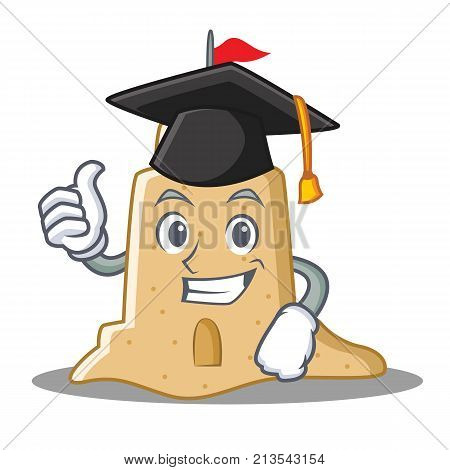 Graduation sandcastle character cartoon style vector illustration