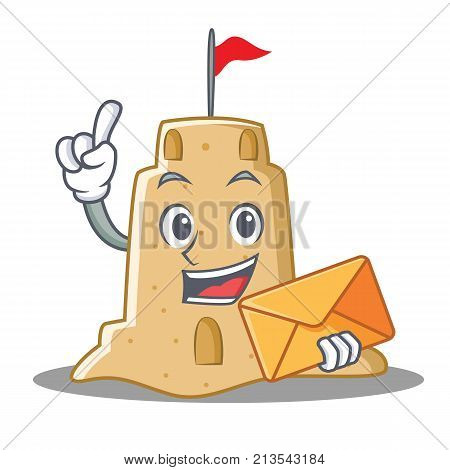 With envelope sandcastle character cartoon style vector illustration