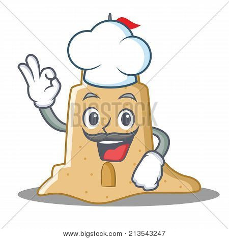 Chef sandcastle character cartoon style vector illustration