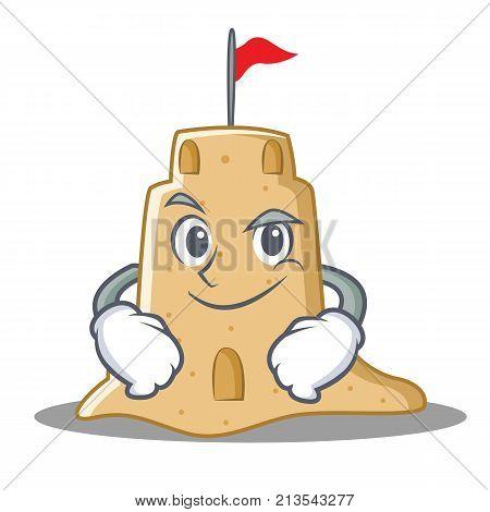 Smirking sandcastle character cartoon style vector illustration