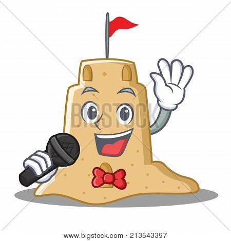 Singing sandcastle character cartoon style vector illustration