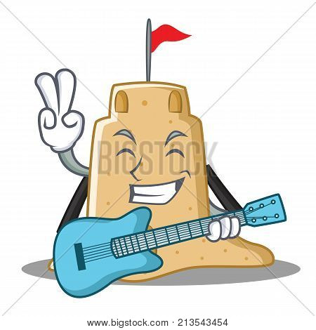 With guitar sandcastle character cartoon style vector illustration