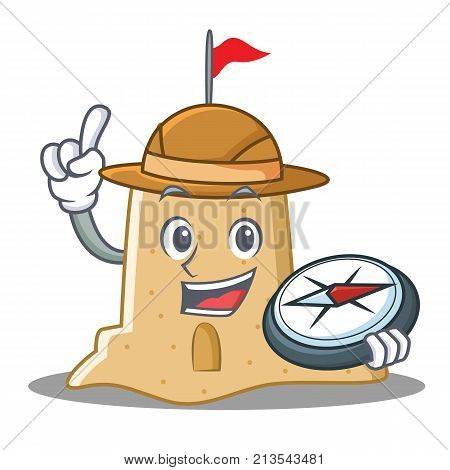 Explorer sandcastle character cartoon style vector illustration