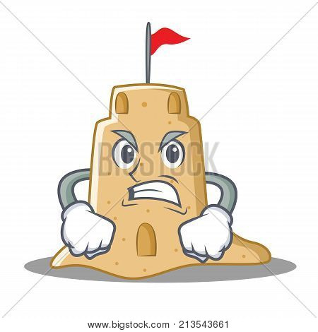 Angry sandcastle character cartoon style vector illustration