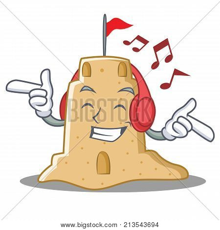 Listening music sandcastle character cartoon style vector illustration