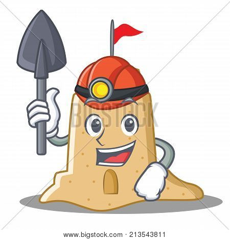 Miner sandcastle character cartoon style vector illustration