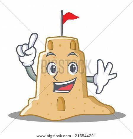 Finger sandcastle character cartoon style vector illustration