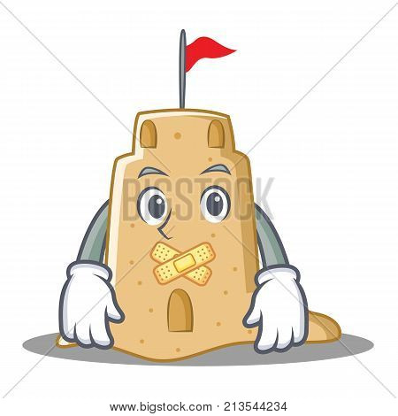 Silent sandcastle character cartoon style vector illustration