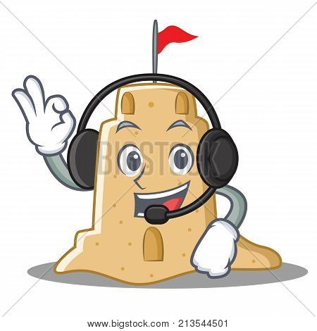 With headphone sandcastle character cartoon style vector illustration