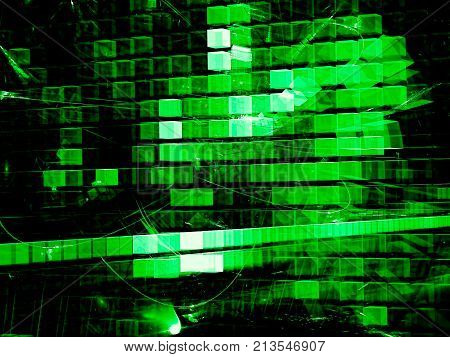 Sci-fi or hi-tech background - abstract computer-generated image. Fractal art: chaos glowing green cubes. Technology backdrop with light effects.