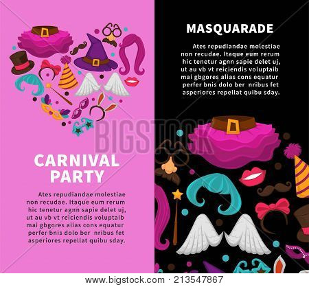 Carnival masquerade party poster of masks and costume accessories. Vector flat icons set of birthday party carnival mask, witch hat and magic wig, angel wing or mustache glasses and bunny ears