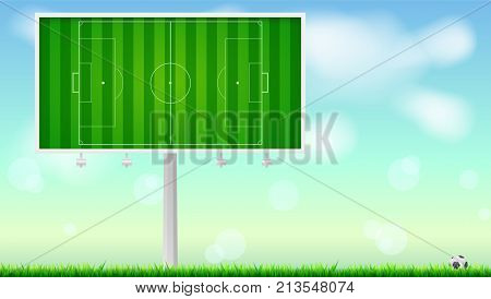 European football, soccer field on horizontal billboard. Field with markings on summer sky backdrop. Soccer ball lying in the grass. Resizable vector illustration for your, ready for print design.