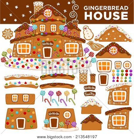 Christmas gingerbread cookie house constructor icons. Vector isolated cartoon ginger candy Santa house roof with caramel chimney and glaze snow windows for Christmas or New Year greeting card design