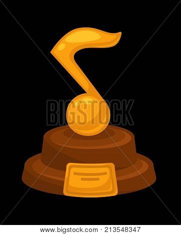 Music award golden musical note icon with nameplate for best musician or music performer and composer winner. Vector flat isolated metallic gold note symbol for best victory nomination