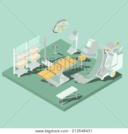 Vector isometric interior of operating theater, operating room with operating table, medical and lighting equipment. Concept of acute surgery, plastic surgery