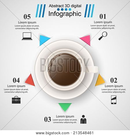Cup, coffe, tea drink - business infographic Vector eps 10