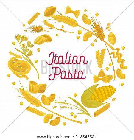 Italian pasta poster of spaghetti, durum fettuccine and farfalle with flour bag and wheat cereal or corn grain icons. Vector design for Italian pasta cuisine