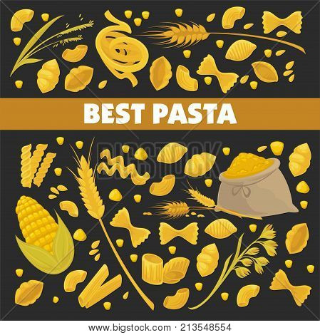 Pasta poster design for Italian food cuisine or macaroni and spaghetti restaurant. Vector durum fettuccine and farfalle or tagliatelli and lasagna with flour bag and wheat cereal or corn grain icons