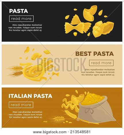 Italian pasta cuisine restaurant web banners design template. Vector Italy traditional macaroni food or spaghetti and farfalle with durum lasagna for pasta cooking recipe