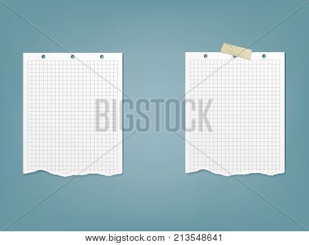 Set of vector illustration sheet, page in a cage of notebook, notepad in a realistic style isolated on a blue background. White paper in blue cage ready for message