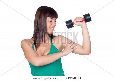 Beautiful Girl With A Weighttraining