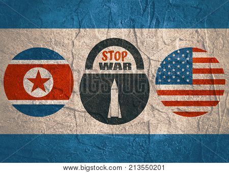 Image relative to political situation between USA and North Korea. National flags divided by lock with stop war text and missile icon as keyhole