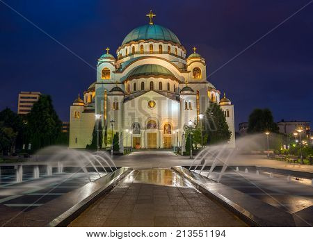 Cathedral of Saint Sava at night, Belgrade, Serbia