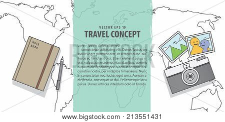 Banner Memories With Camera & Note Book On World Map Backgroundillustration Vector . Travel Concept.