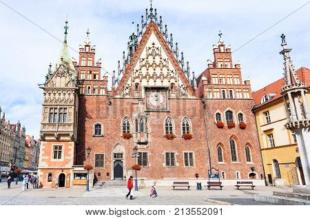 Front View Of Town Hall On Market Square, Wroclaw