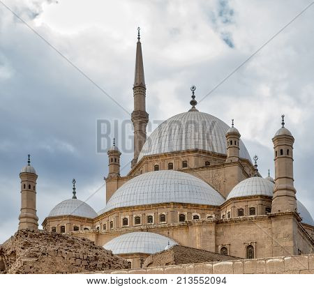 Domes of the great Mosque of Muhammad Ali Pasha (Alabaster Mosque) situated in the Citadel of Cairo Egypt commissioned by Muhammad Ali Pasha 1830 - 1848 one of the landmarks of Cairo