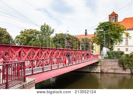 Most Piaskowy Bridge Over Oder River In Wroclaw