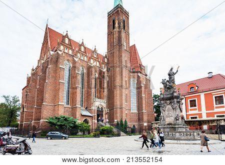 Square Of Collegiate Church In Wroclaw City