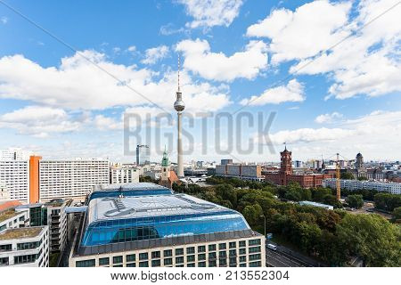 Berlin City Skyline With Tv Tower Rotes Rathaus