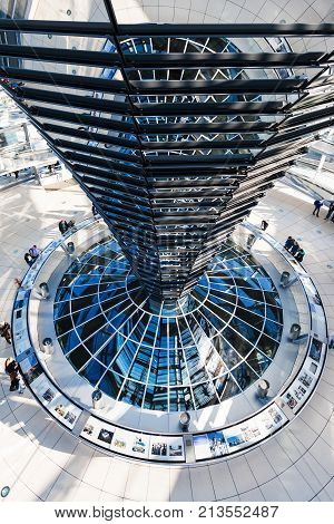 Interior Of Reichstag Dome In Berlin City