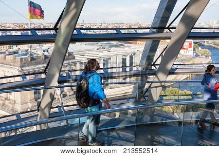 Visitors In Gallery Of Reichstag Dome In Berlin